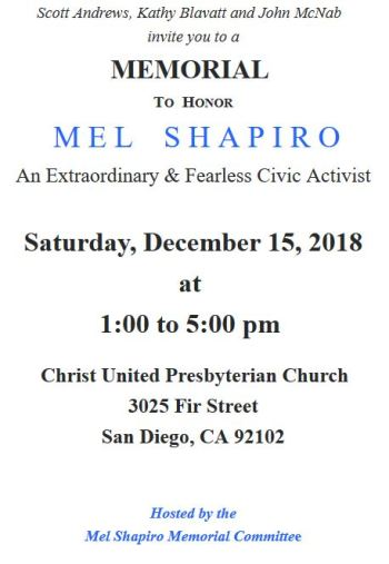 Memorial for Mel Shapiro – Sat , December 15