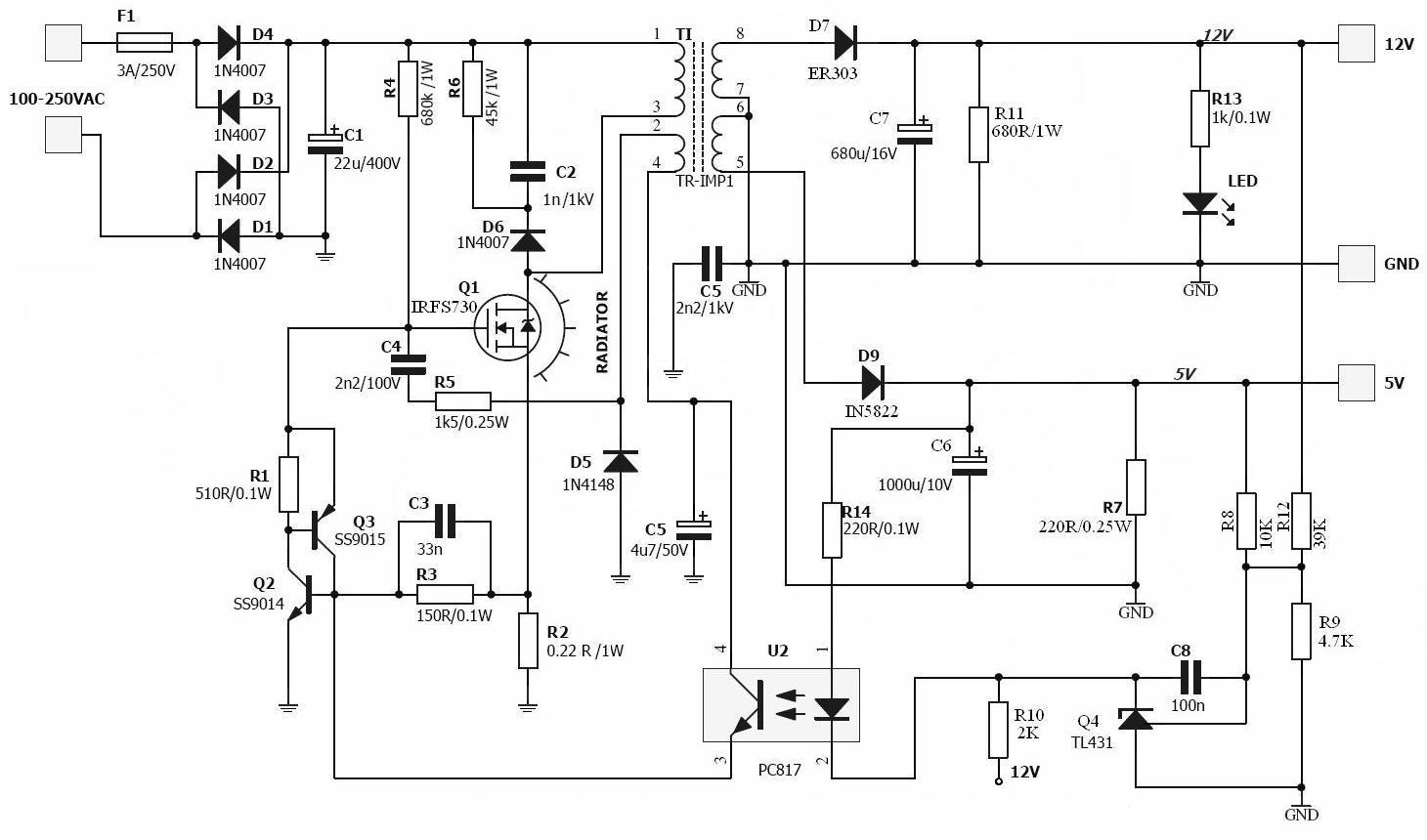 ac dc power adapter schematic