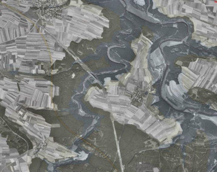 Zatopené mosty u D1 na letecké mapě z roku 1953