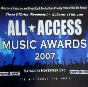 All Access Magazine Music Awards 2006 Nomination for Shane O'Brien
