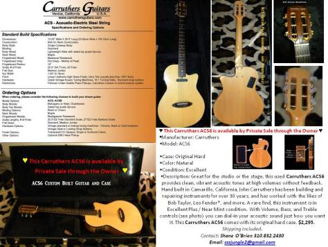 ACS6 Custom Carruthers Guitar for Sale by owner