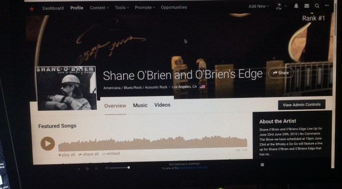 ReverbNation Listed as No.1 re Shane O'Brien and O'Briens Edge