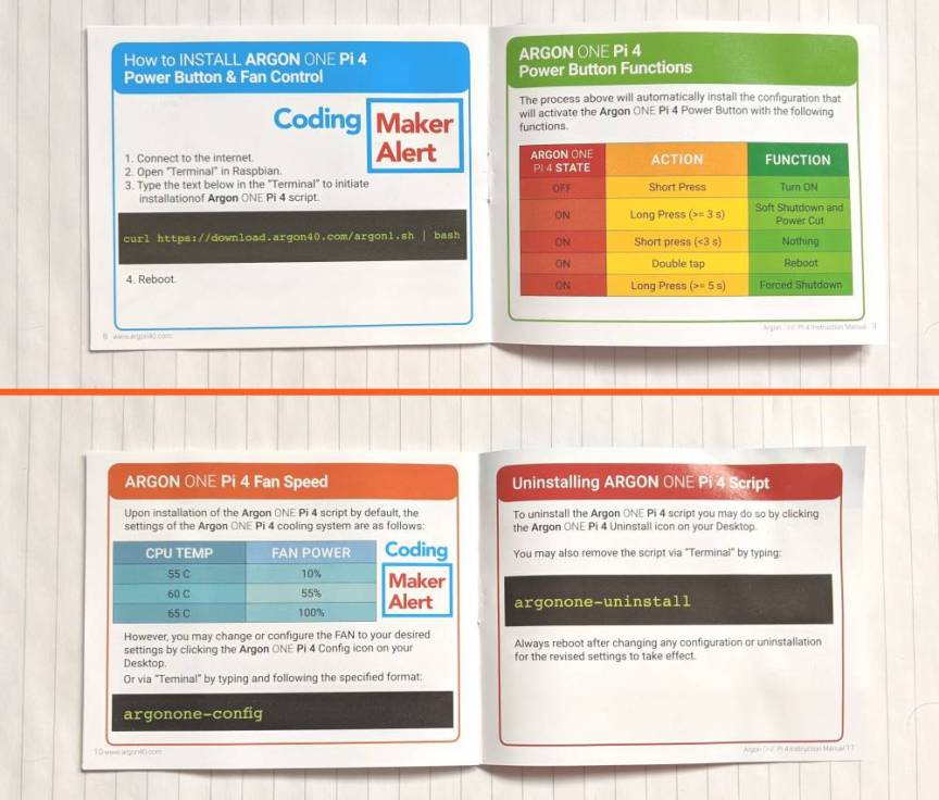 Argon One Instruction booklet