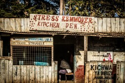 Photograph of rural food place called 'Stress remmover'