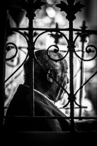 Monochrome Photograph - portrait of elderly man of color - profile