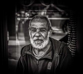 Monochrome portrait of elderly Latino man (on demand)