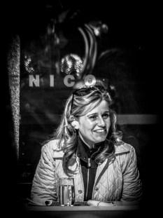Portrait series of blond woman in a restaurant - part 3