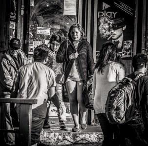 Street scene near Sunset Park, Brooklyn: Hispanic girl with very short skirt