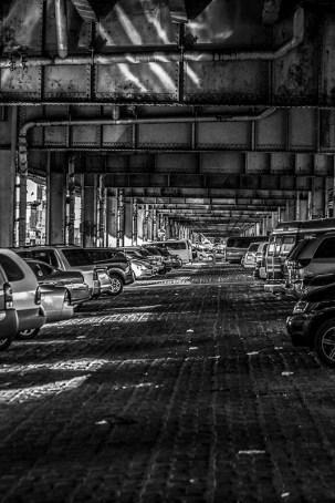 Monochrome: Brooklyn, under a railway bridge