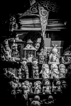 Monochrome Street Shot of Stand with Christmas knickknacks