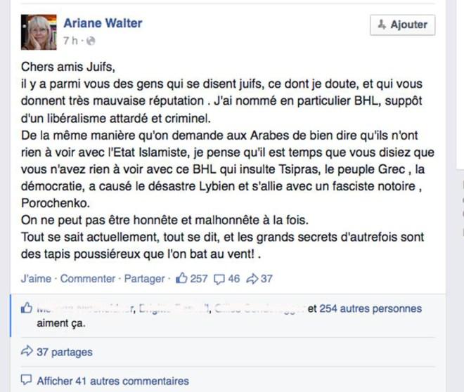 La solution d'Ariane Walter contrte le racisme anti-arabes : le racisme anti-juifs!