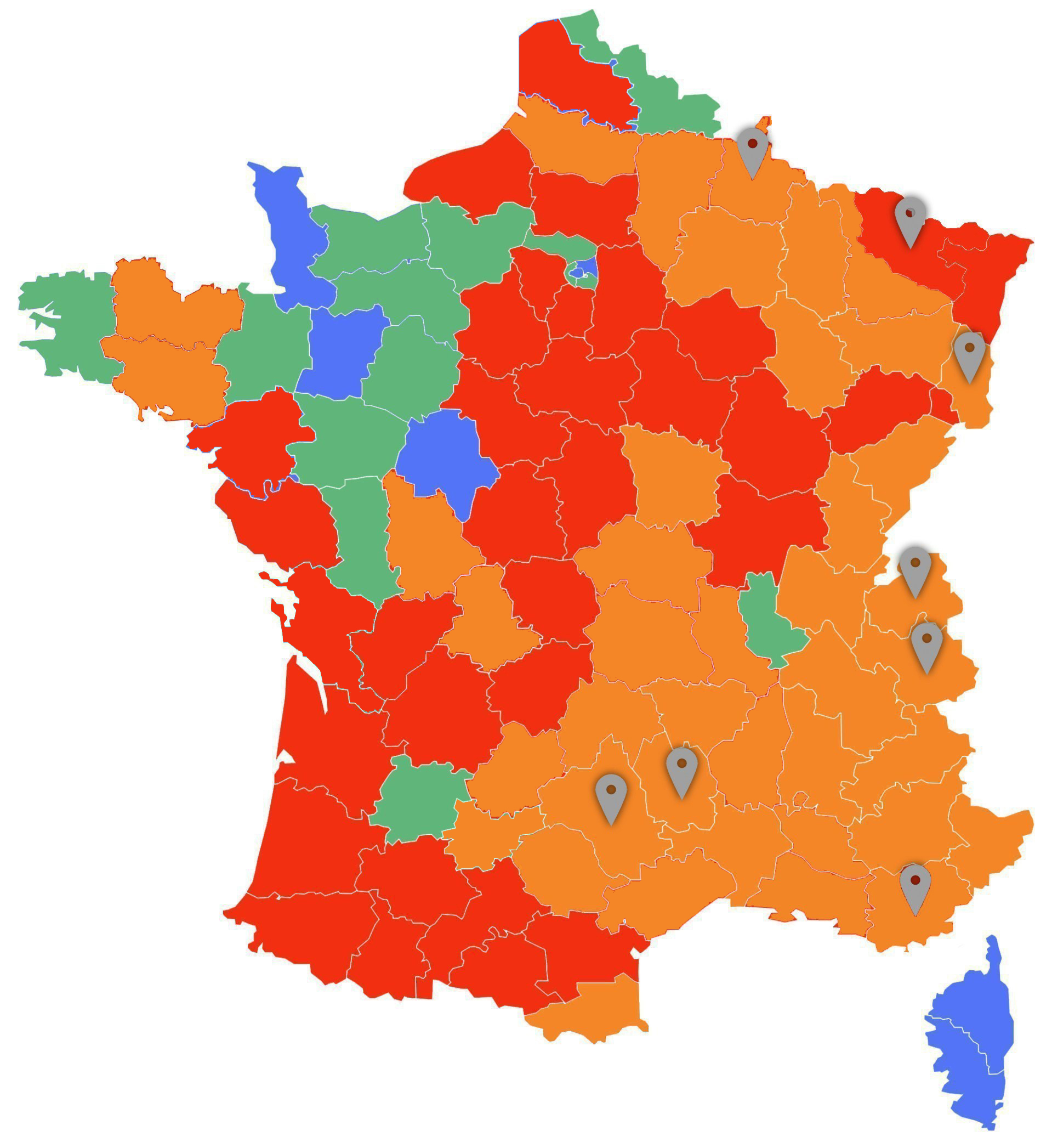 Carte de dispersion du Loup en France (2019)
