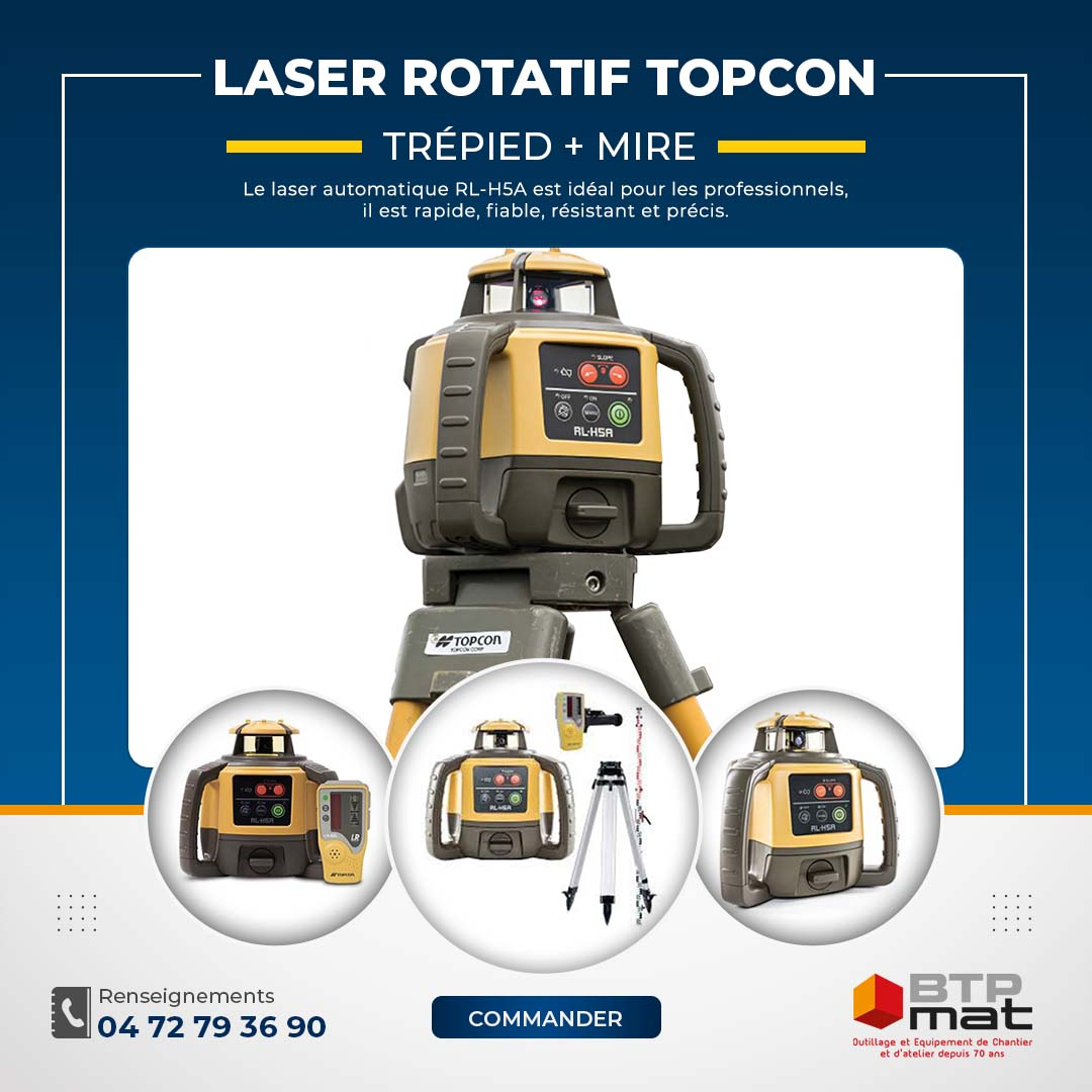 Pack laser rotatif automatique RLH5A TOPCON avec trépied + mire
