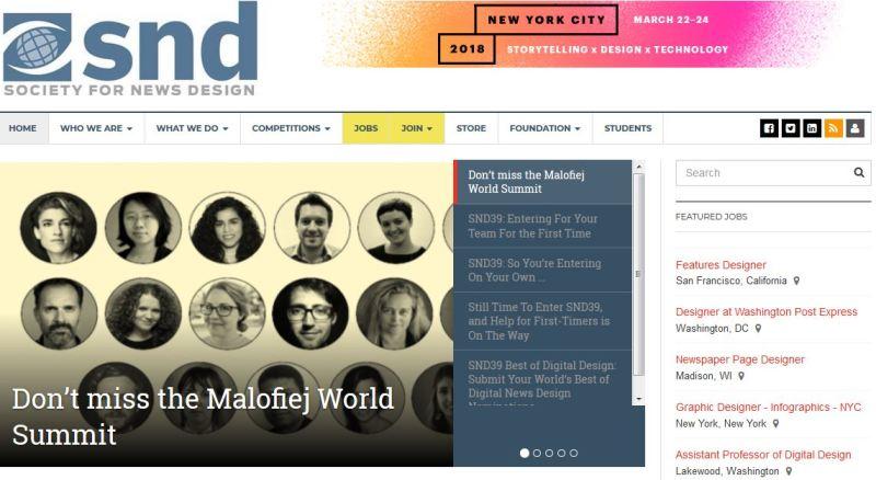 Society for News Design. Captura de la página principal