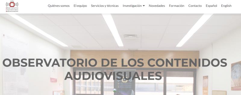 Cabecera del sitio web del Observatorio de los Contenidos Audiuovisuales