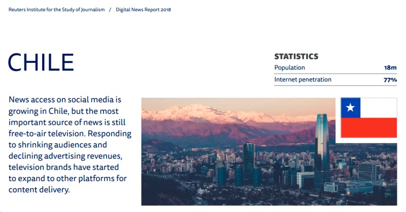 Cubierta del Digital News Report Chile 2018