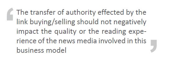 Cita del artículo sobre prensa y compra/venta de enlaces