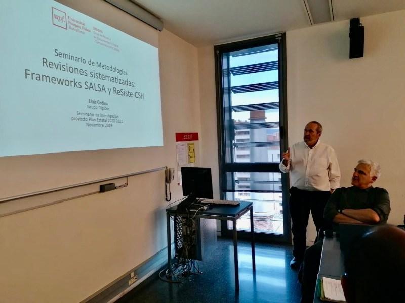 El doctor Codina presenta los frameworks  SALSA y ReSiste-CSH, dedicados a la realización de revisiones sistematizadas.
