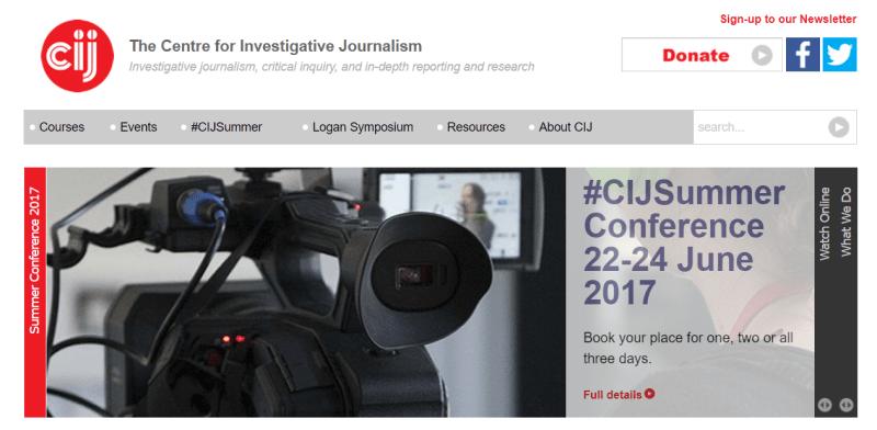 Centre for Investigative Journalism (CIJ) - Sitio web. Página principal