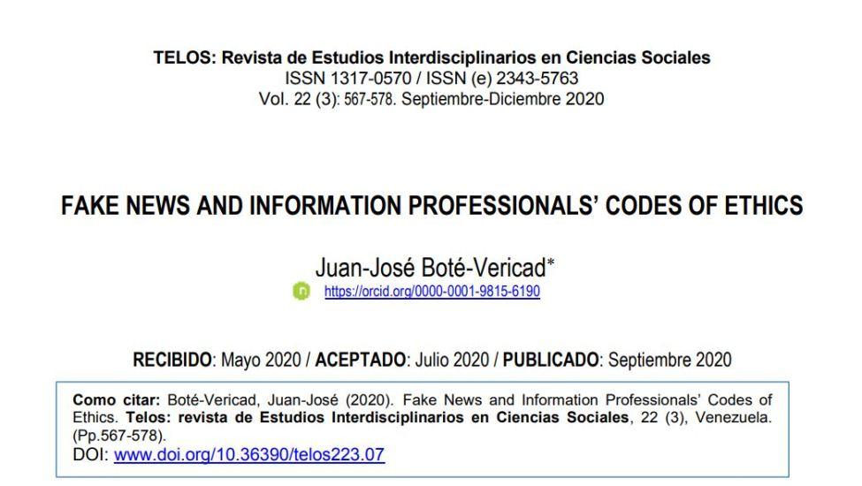 Reseña del artículo «Fake News y los códigos éticos de los profesionales de la información» de Juanjo Boté, académico de la Universitat de Barcelona e investigador del proyecto INDOCS.