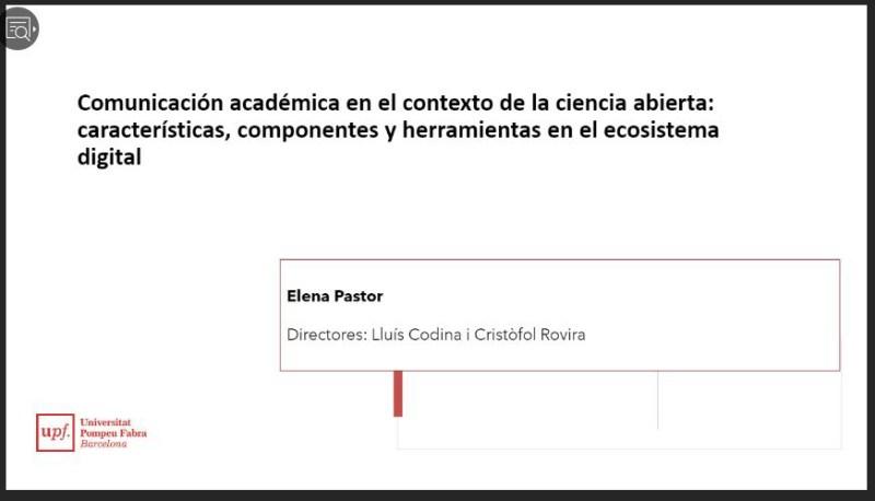 Presentación del proyecto de investigación de la doctoranda Elena Pastor