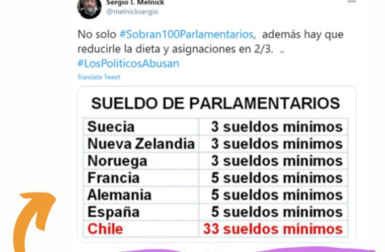 ¿El salario de los parlamentarios chilenos equivale a 33 sueldos mínimos?