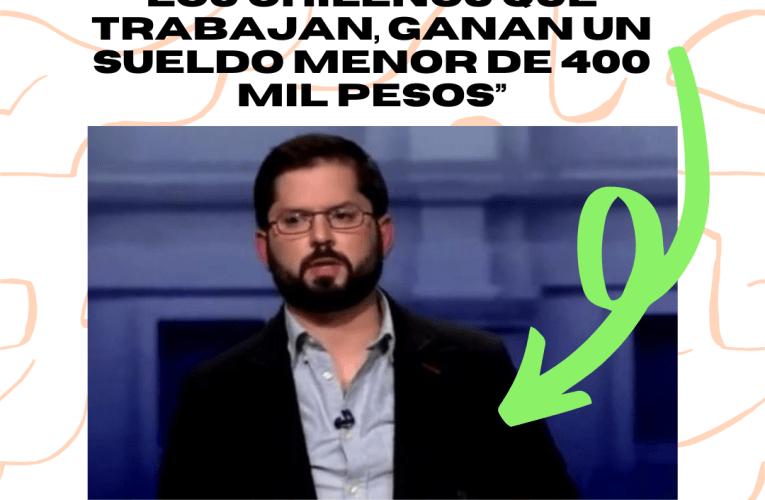 """Gabriel Boric: """"Más de la mitad de los chilenos que trabajan, ganan un sueldo menor de 400 mil pesos"""""""