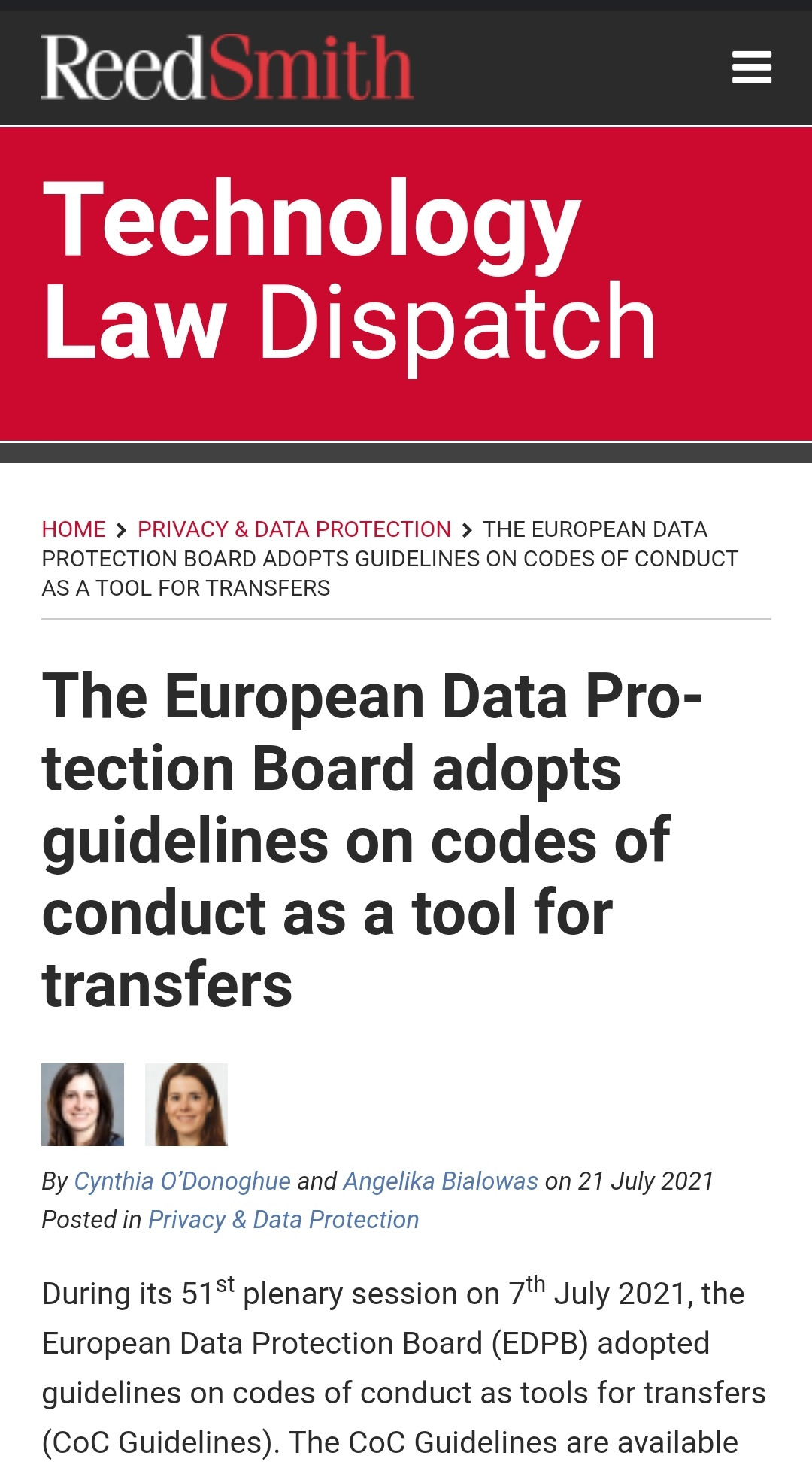 The European Data Protection Board adopts guidelines on codes of conduct as a tool for transfers