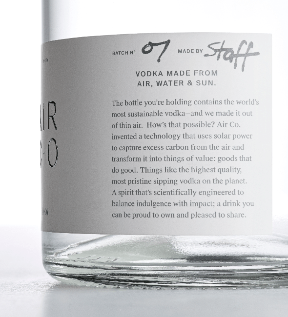 Air Co.'s label notes the short list of ingredients.