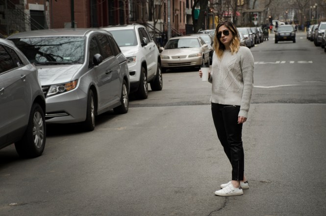 Leather-Pants-Grey-Sweater-Sneakers