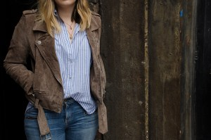 Suede-Moto-Jacket-Blue-White-Striped-Blouse-Ripped-Jeans
