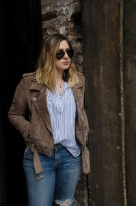Suede-Moto-Jacket-Blue-White-Striped-Blouse-Ripped-Jeans-Details