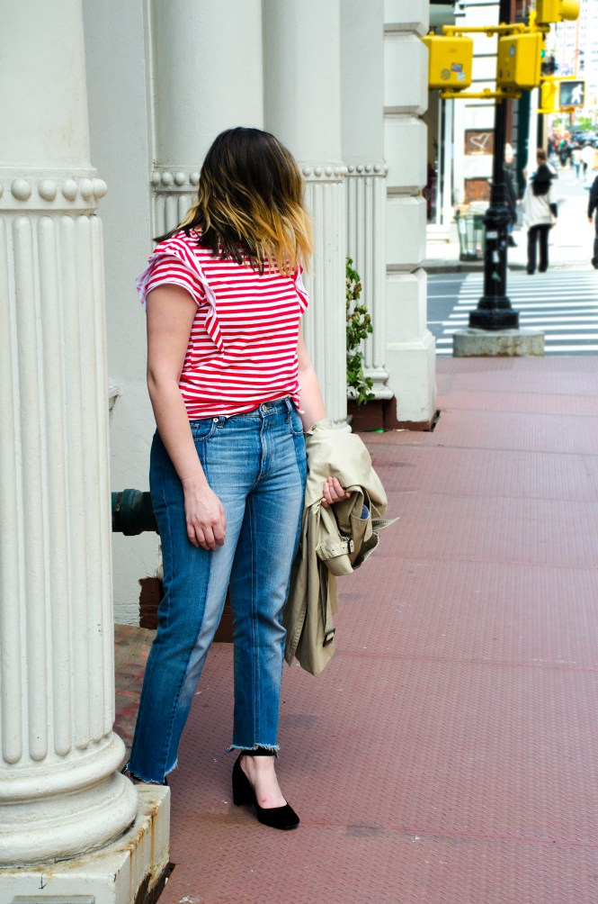 two-tone-jeans-denim-trench-coat-red-breton-stripe-tee