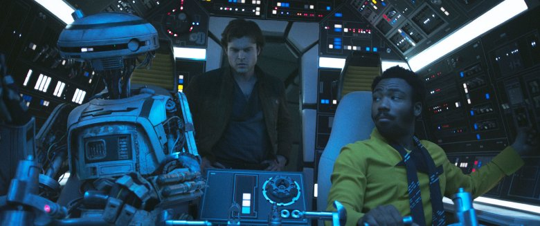 Han and Lando aboard the Falcon