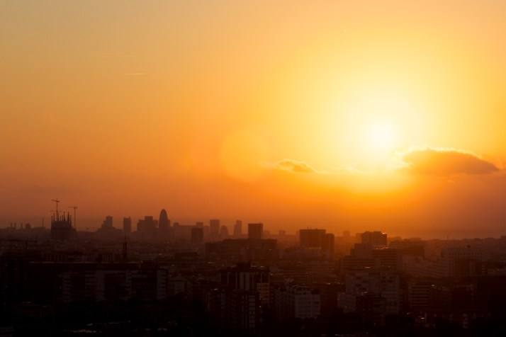 Catching the sun rise over Barcelona