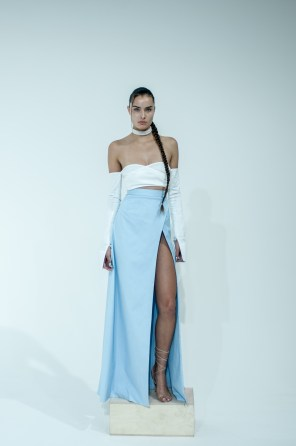 4. LONG SLEEVE SHIRTING BUSTIER WITH STRIPED SHIRTED MAXI SKIRT