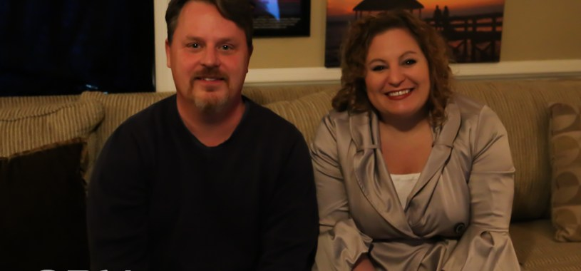 Sue Artz with Dare County Arts Council Executive Director Chris Sawin on the set of the OBX Entertainment series 'OBXE TV' on March 16, 2015. (photo by OBXentertainment.com)