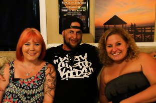 Outer Vapes owners Christine and Ronnie Beasley with Sue Artz on the set of the OBX Entertainment series 'OBXE TV' on June 24, 2015 (photo by Matt Artz for OBXentertainment.com)