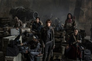 Star Wars: Rogue One. Left to Right: Actors Riz Ahmed, Diego Luna, Felicity Jones, Jiang Wen and Donnie Yen. Photo Credit: Jonathan Olley ©Lucasfilm 2016