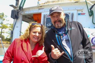 'Wicked Tuna' Capt. Dave Marciano with OBXE TV host Sue Artz aboard the Hard Merchandise in Wanchese, NC on April 15, 2016. (photo by Matt Artz for OBXentertainment.com)