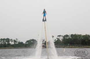 Jasper Dean takes 'OBXE TV' Episode 72 on location for a flight on OBXjetpak's flyboard. (photo by Matt Artz for OBX Entertainment)
