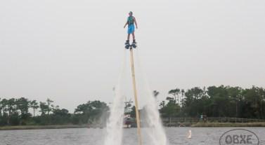 Jasper Dean takes 'OBXE TV' Episode 72 on location for a flight on OBXjetpak's flyboard. (photo by Matt Artz for OBX Entertainment)