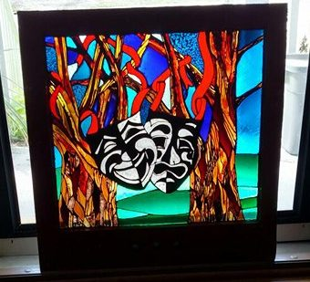 Stained glass window painting by North Carolina artist Teresa Cole Rogers featured on 'Treehouse Masters'.