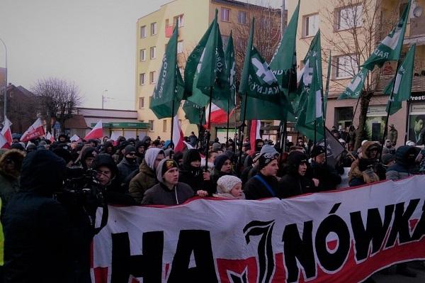 Marsz narodowców wHajnówce, 24.02.2018