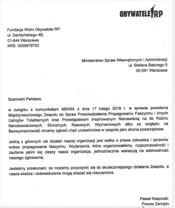List Obywateli RP doMSWiA
