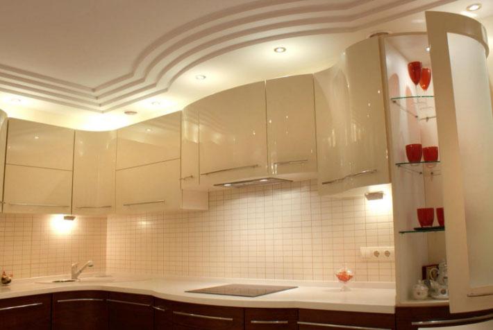 Стильная кухня из гипсокартона