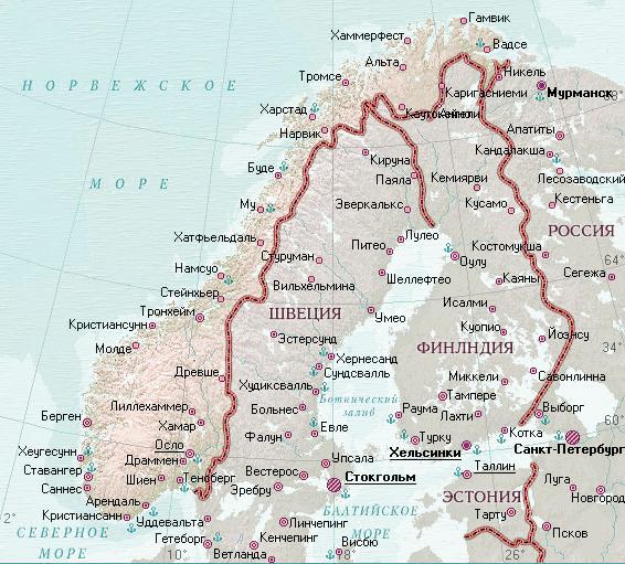 Locația Norvegiei Pe Hartă Harta Detaliată A Norvegiei In Rusă