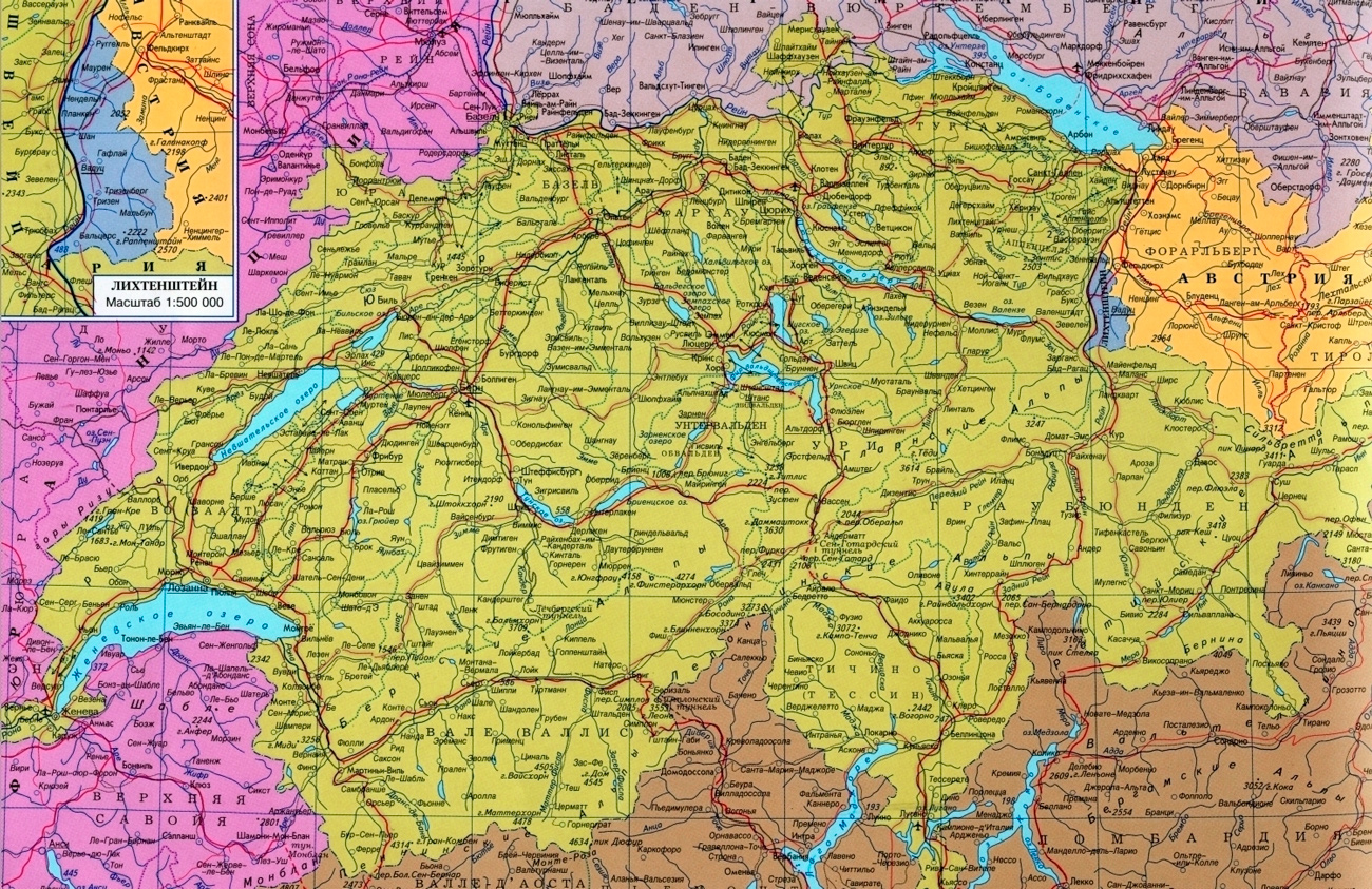 Border Of France And Switzerland Map Kart Over Sveits Pa Russisk