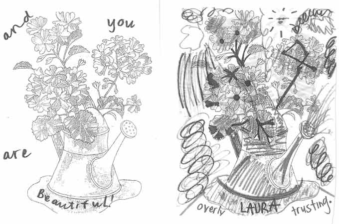 And you are beautiful, overly trusting Laura - mental health art