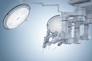 robot for surgery on blue background